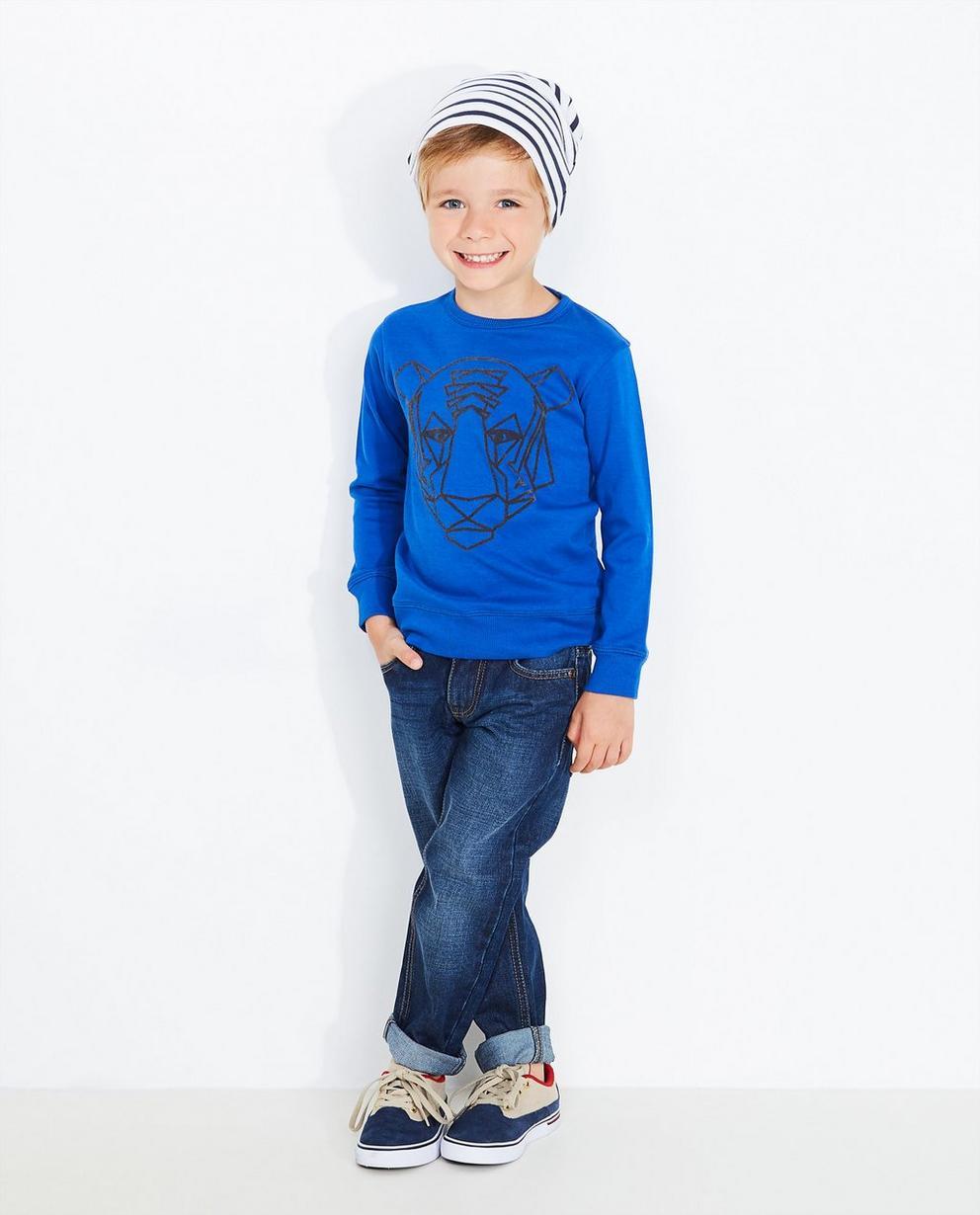 Sweater met berenprint - in nachtblauw, BESTies - Besties